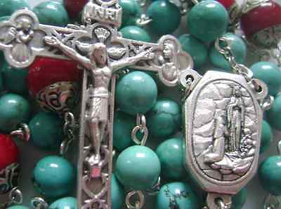 Natural Turquoise & Coral beads Lourdes Water Rosary Cross crucifix Necklace 4