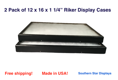 2 Pack of Riker Display Cases 12 x 16 x 1 1/4for Collectibles Arrowheads Jewelry