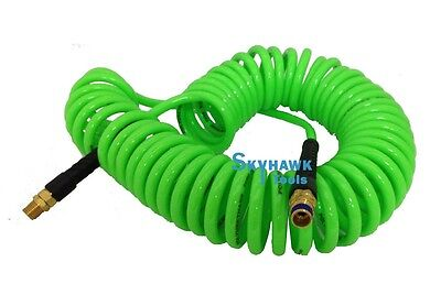 """1//4/"""" x 30/' Blue Recoil Polyurethane Re Coil Air Hose Male Swivel Fittings New"""