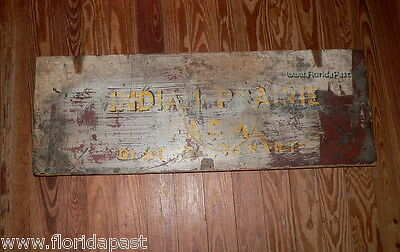 Antique INDIAN PRAIRIE FARM GLADYS COWART Trade Sign Lid Marion County Florida 3