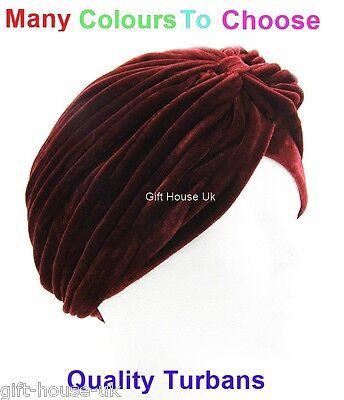Stretchy Ladies Turban Plain/Velvet Pleated Head Band Hair Cover Chemo Cloche B3 2
