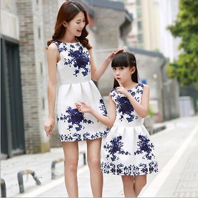 c61d4daf4 NEW MOTHER DAUGHTER Matching Dresses Summer Women Dress Girl Clothes ...