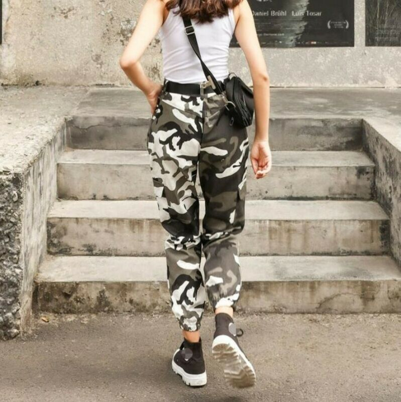 Womens Camouflage Hiphop Military Overall Pants Casual Outdoor Trousers Sbox4 6