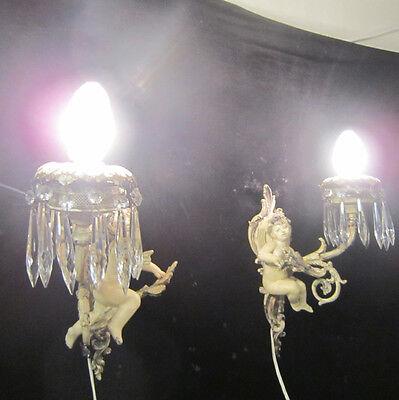 2 Antique French Cherub Spelter lamp Vintage Shabby sconce chic Paris Architectu 7
