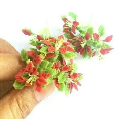 6 Clay Dollhouse Miniature Poinsettia Flowers,Christmas Plants,Christmas Decor 4