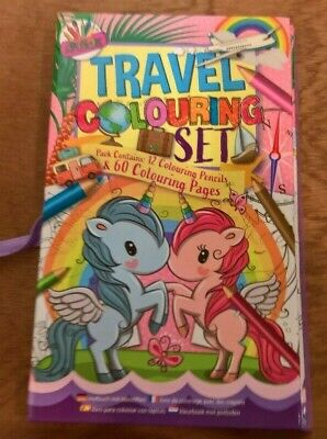 Unicorn and mermaid travel set  colouring books and 12 colouring pencils 4