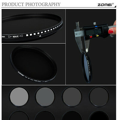 ZOMEI 52/55/58/62/67/72/77/82mm Adjustable Neutral Density Fader  filter ND2-400 7