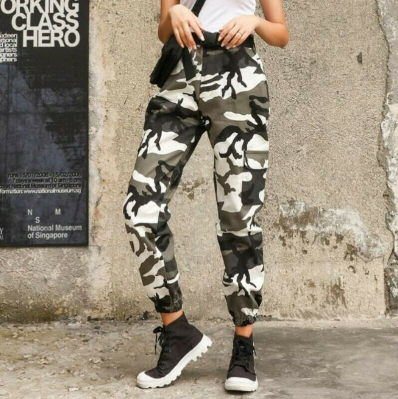 Womens Camouflage Hiphop Military Overall Pants Casual Outdoor Trousers Sbox4 3