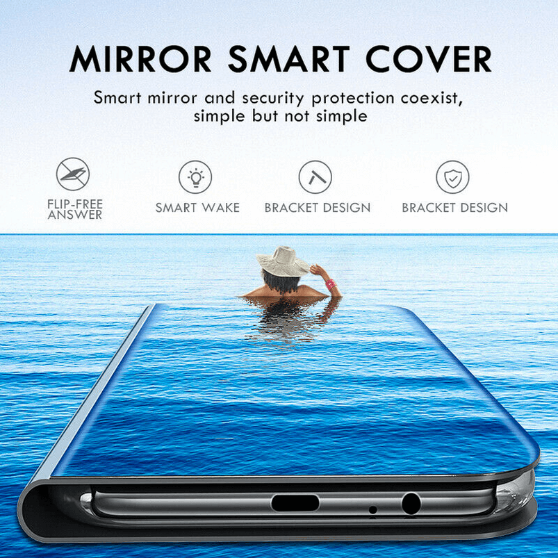 For Samsung Galaxy S9/S8 S10 Plus Note 8/9 Smart Mirror View Flip Case Stand Cov 9