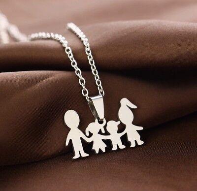 Collana Famiglia Ciondolo Family Figli Mamma Papà Regalo In Acciaio Argento 4