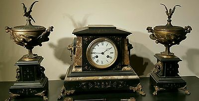 Antique J E Caldwell French Mantel Clock Set w/ Urns Marble Bronze 19th C EXLNT! 11