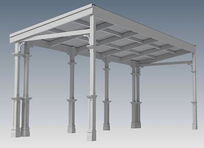 TRADITIONAL TIMBER FLAT ROOF VERANDAH V02 - Full  Building Plans 2D & 3D 4