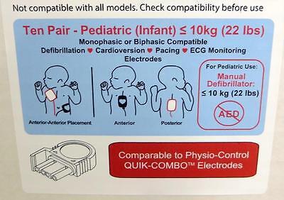 Étui de 10 Physio Contrôle Heartsync Adulte & 10 Pédiatrique Lifepak Électrodes 8