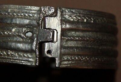 Antique Greek Folk Hand Made Silver Hinged Bracelet