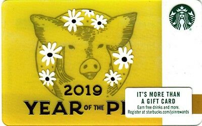 NEW STARBUCKS CHINESE YEAR of PIG 2019 Lunar GIFT CARD + SLEEVE