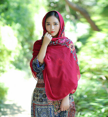 Women Large Embroidered Cotton Linen Floral Scarf Pashmina Wrap Shawl Scarves 3