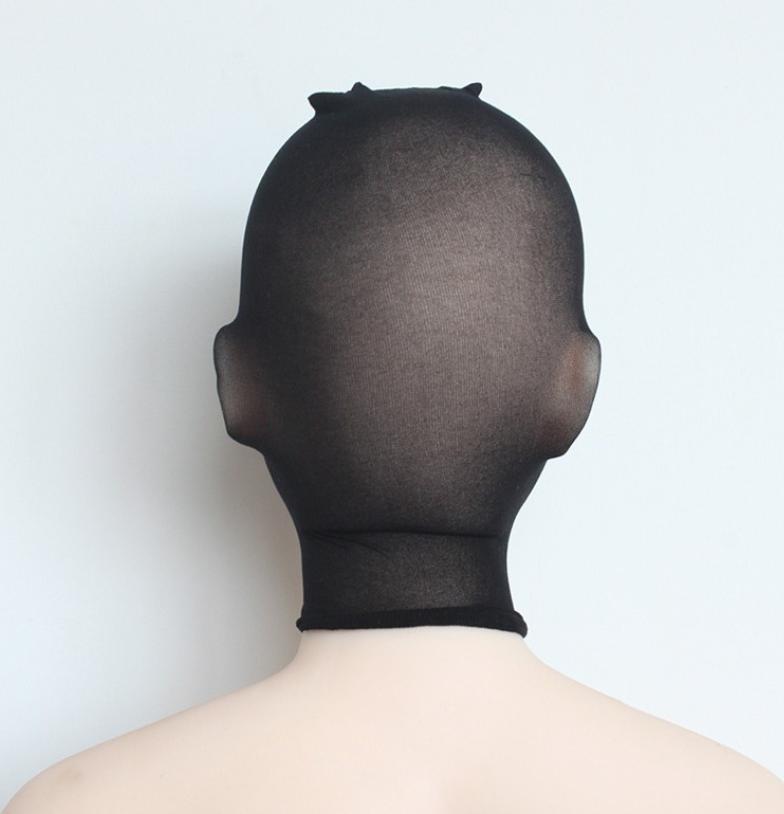 Unisex Fetisch Maske Cosplay Bondage BDSM Nylon Strumpfhosen-Stoff schwarz 7