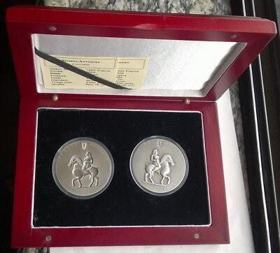 Togo 2004 Princess Equestrian 1000 Francs Set of 2 Silver Coins,BU 3