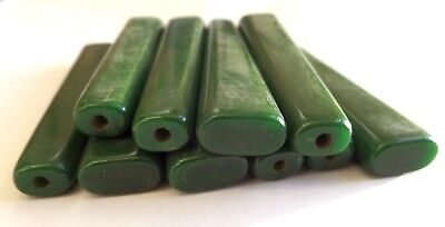 "VINTAGE LOT 10 CATALIN GREEN 3-3/8"" (87mm) Flatware Handles by Bakelite 8"