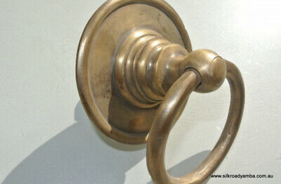 """2 medium round handle ring pull solid brass heavy old vintage OLD style DOOR 3""""B 5"""