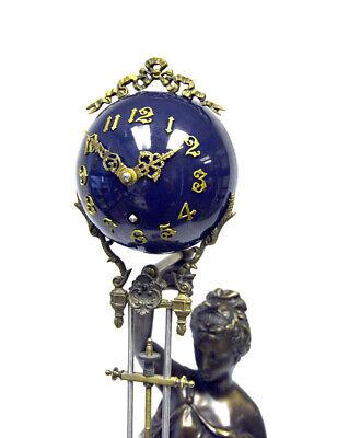 "Large Mystery Brass Lady Diana 8 Day 4"" Cobalt Blue Ball Swinging Clock 3"