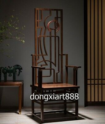 163 cm Copper padauk solid wood furniture Wooden room High chair wooden armchair 7