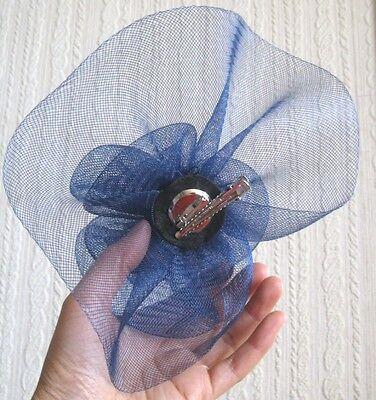 navy blue flower fascinator millinery  brooch clip wedding hat bridal ascot race 4