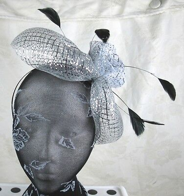 sliver feather headband fascinator millinery wedding ascot hat hair piece 2