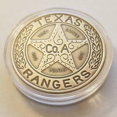 1 oz .999 Silver antiqued Texas Ranger Wagon wheel badge Chuck Norris patina