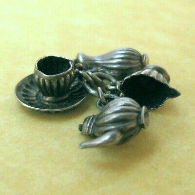 Antique Victorian Tea Set Teapot Creamer Teacup Saucer Carafe Sterling Charm 5