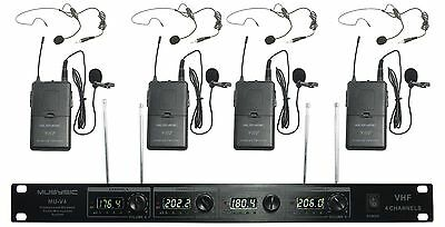 4-Channel Professional VHF Lapel / Lavalier & Headset Wireless Microphone System 2