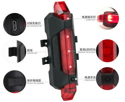 5 LED USB Rechargeable Bike Tail Light Bicycle Safety Cycling Warning Rear Lamp 6