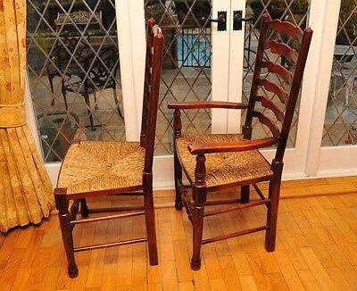 8 Rustic English Oak Ladder Back Chairs Ladderback 8