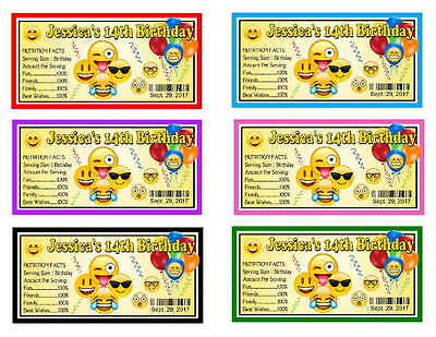 20 EMOJI BIRTHDAY PARTY FAVORS WATER BOTTLE LABELS Glossy Waterproof Ink 2