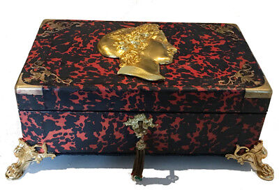 Antique French Ormolu Red Tortoise Shell Boulle  Writing Box Slope 3