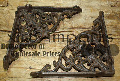 6 Cast Iron Antique Victorian Style Brackets, Garden Braces Shelf Bracket 2