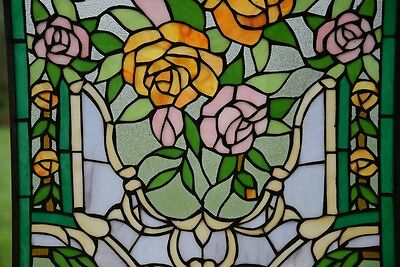 "Rose Flower Tiffany Style stained glass window panel,  20"" x 34"" 6"