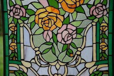"""20"""" x 34""""Rose Flower Tiffany Style stained glass window panel 6"""