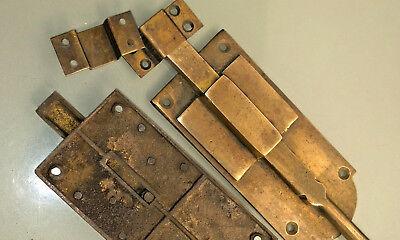 "4 small BOLT old vintage style doors furniture heavy brass flush slide 6"" bolts 5"