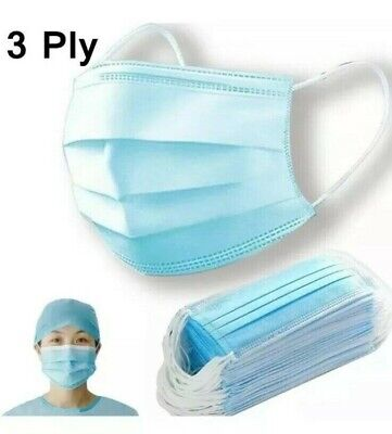 50 PCS Face Mask Medical Surgical Dental Disposable 3-Ply Earloop Mouth Cover 4