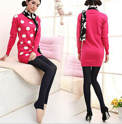 Women Winter Cable Knit Sweater Footed Tights Warm Stretch Stockings Pantyhose j 9