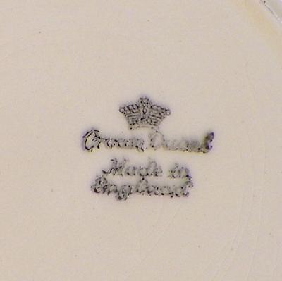 7 Crown Ducal Salad Dessert Plates Creamware Embossed Flowers Fruit Scrolls