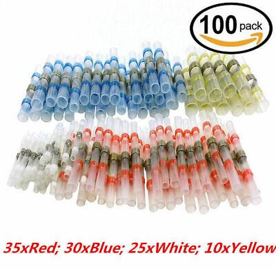 100PCS Solder Sleeve Heat Shrink Butt Waterproof 26-10 AWG Wire Splice Connector 6