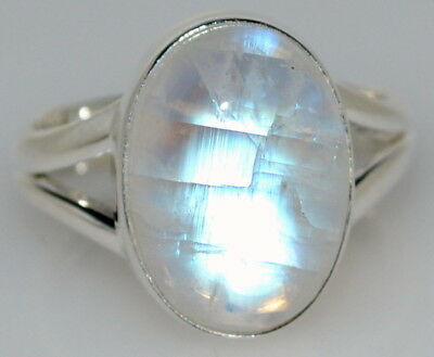 925 Sterling SILVER Rainbow Moonstone Ring Real Gemstone Jewellery, Sizes L to Z 6