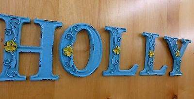 "BLUE CAST IRON WALL LETTER ""F"" 6.5"" TALL rustic vintage decor sign child nursery 9"