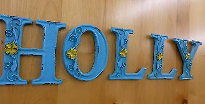 "BLUE CAST IRON WALL LETTER ""T"" 6.5"" TALL rustic vintage decor sign child nursery 9"