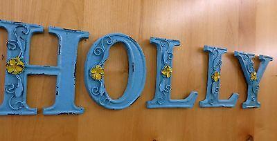 "BLUE CAST IRON WALL LETTER ""E"" 6.5"" TALL rustic vintage decor sign barn nursery 10"