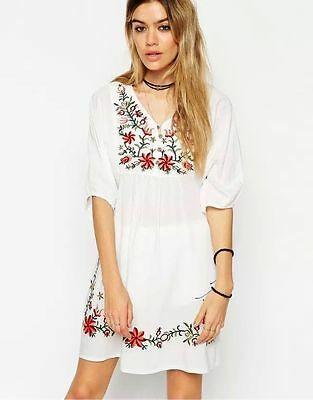 HOT Women Boho Mexican Ethnic Embroidered Dress Hippie Blouse Gypsy Mini Dress
