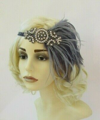 Charcoal Pewter Dark Grey Silver Feather 1920s Flapper Headband Gatsby Deco 7563 4