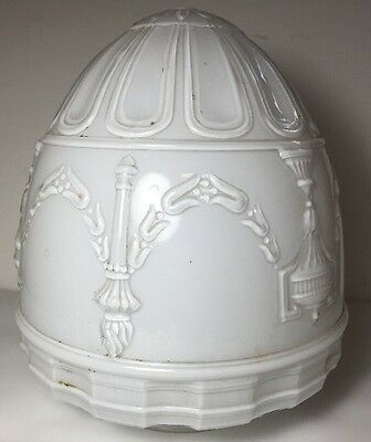Excellent Vintage White Frosted Ceiling Light Fixture Shade Home Decor 7